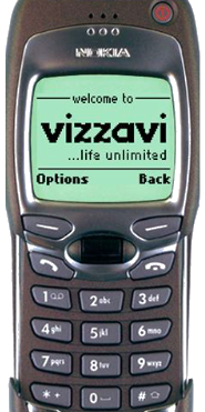 WAP Phone showing Vizzavi Mobile Portal